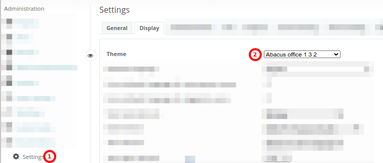 Screenshot of Redmine Settings > Display and theme tab